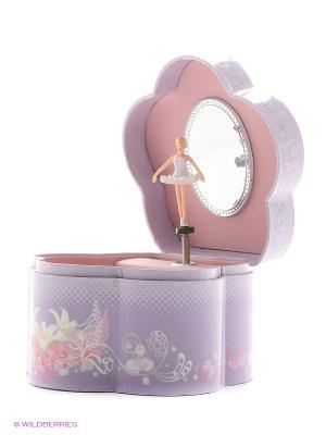 Музыкальная шкатулка с фигуркой в форме цветочка Jakos. Цвет: фиолетовый, бежевый, бледно-розовый, розовый, белый