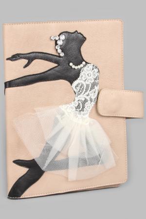 Обложка для ежедневника Maria Tomassini. Цвет: песочный, черная балерина