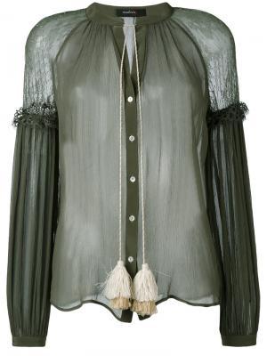 Прозрачная блузка с бахромой Wandering. Цвет: зелёный