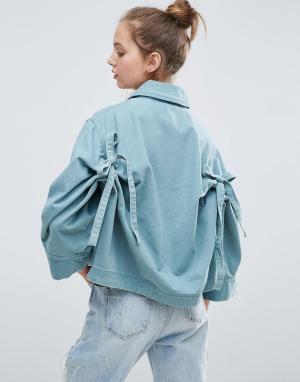 ASOS Куртка с бантами на спине. Цвет: зеленый