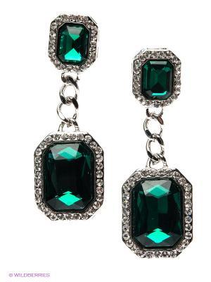 Серьги Lovely Jewelry. Цвет: серебристый, зеленый