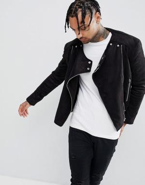 Sixth June Байкерская куртка из искусственной замши. Цвет: черный
