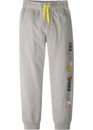 Трикотажные брюки с модным принтом (серый меланж) bonprix. Цвет: серый меланж