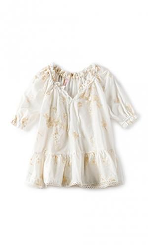 Платье со сборками tropicale Zimmermann. Цвет: белый