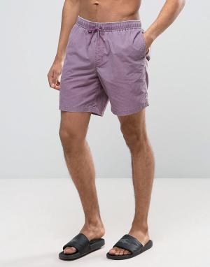 ASOS Фиолетовые шорты для плавания средней длины с эффектом кислотной стирк. Цвет: фиолетовый