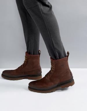 Sorel Коричневые водонепроницаемые кожаные ботинки Madson. Цвет: коричневый