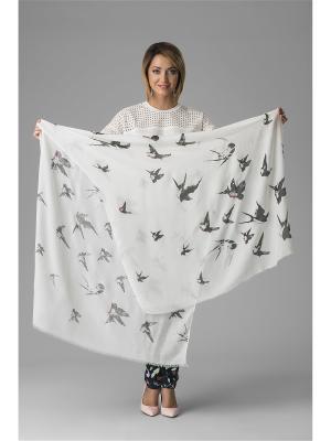Воздушный платок с принтом ласточка и короткой бахромой, 184 x 90 см. Nothing but Love. Цвет: черный, белый, красный