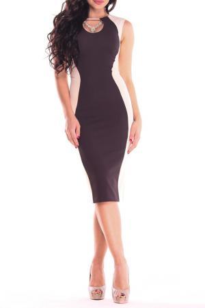 Платье REBECCA TATTI. Цвет: бежевый, шоколадный