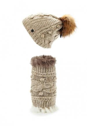 Комплект шапка и шарф Avanta. Цвет: бежевый