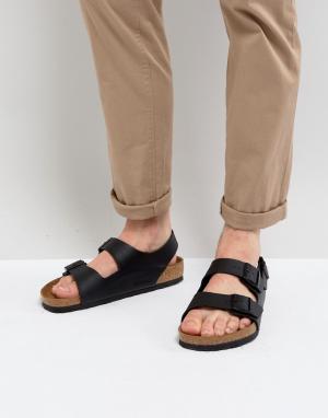 Birkenstock Черные сандалии s Milano. Цвет: черный