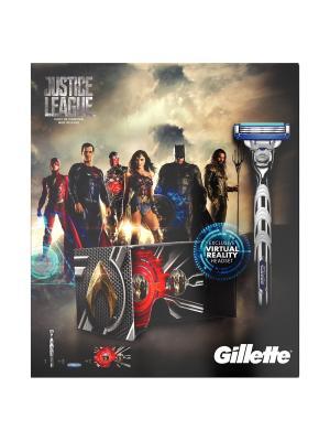 Подарочный набор Gillette Mach3 Turbo станок с 1 кассетой + 2 кассеты очки вирт. реальности. Цвет: черный, красный