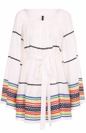 Хлопковое мини-платье с контрастной отделкой Lisa Marie Fernandez. Цвет: белый