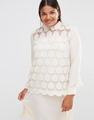 Lovedrobe Кружевное платье с длинными рукавами. Цвет: кремовый