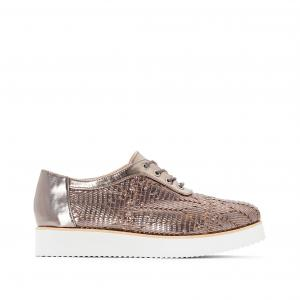 Ботинки-дерби с плетеным эффектом металлическим блеском R studio. Цвет: серебристый