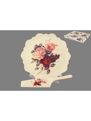 Подставка под торт Бархатный нектар Elan Gallery. Цвет: бежевый, красный, розовый