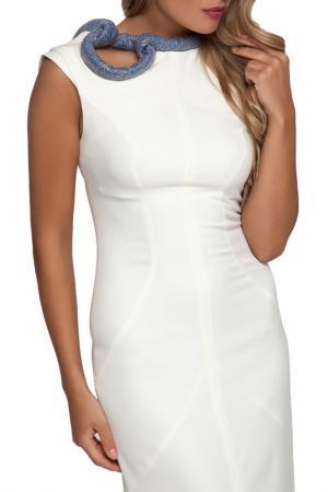 Вечернее платье без рукавов Gloss. Цвет: молочный, золотисто-голубой