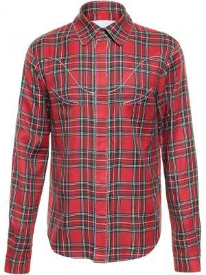 Рубашка в клетку Kye. Цвет: красный