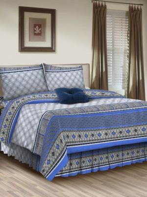 Комплект постельного белья, евро, бязь, пододеяльник на молнии Letto. Цвет: синий, серый, голубой