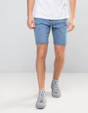 Selected Homme Джинсовые шорты слим с необработанным краем. Цвет: синий