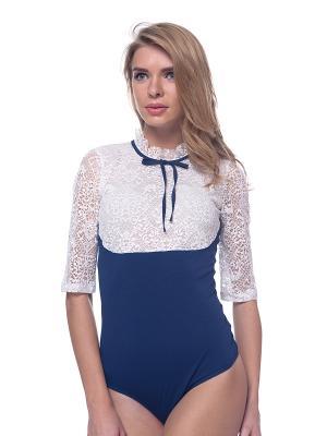 Блузка- боди Arefeva. Цвет: синий