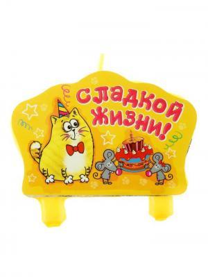 Свеча для торта А М Дизайн. Цвет: лиловый, желтый