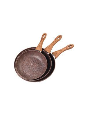 Набор сковородок STEINFURT с гранитным покрытием, цвет коричневый, 3 шт Koch Systeme. Цвет: серый