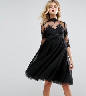 Chi London Maternity Платье для беременных с вышивкой на лифе и прозрачными рукавами Ch. Цвет: черный