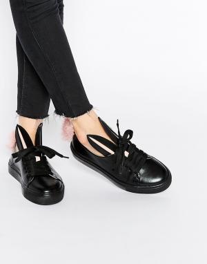 Minna Parikka Черные кожаные кроссовки с кроличьими ушками и хвостиком. Цвет: черный