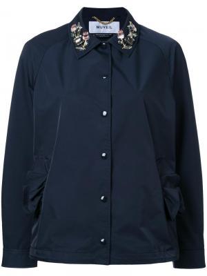 Куртка с декорированным воротником Muveil. Цвет: синий