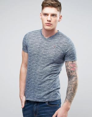 Hollister Темно-синяя узкая меланжевая футболка с вышитым логотипом-чайкой Holli. Цвет: темно-синий
