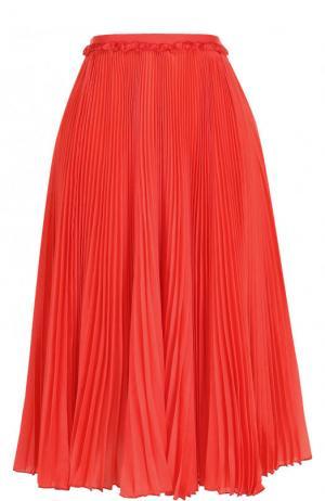 Однотонная плиссированная юбка-миди Rochas. Цвет: красный