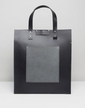 Leather Satchel Company Черная сумка-тоут с серым контрастным накладным карманом Satch. Цвет: черный