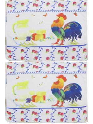 Набор полотенец из микрофибры дизайн Петушок 40*60 - 2 шт. Dorothy's Нome. Цвет: желтый, зеленый, красный