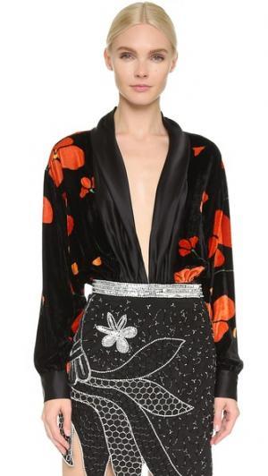 Драпированная блуза из бархата и шелка Rodarte. Цвет: голубой