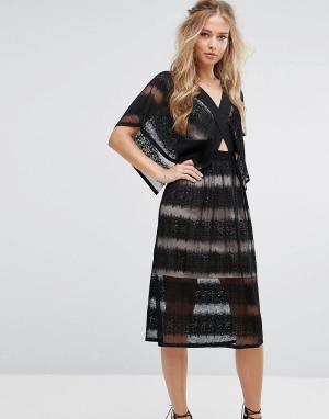 Foxiedox Полупрозрачное кружевное платье с рукавами кимоно. Цвет: черный