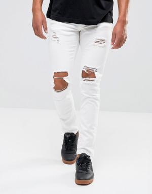 Mennace Белые обтягивающие джинсы с прорехами. Цвет: белый