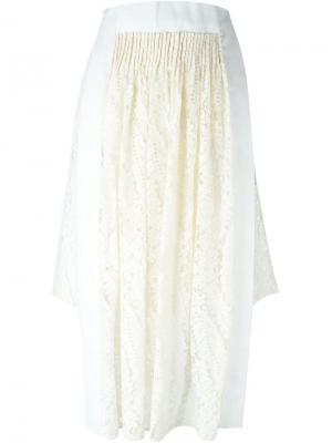 Асимметричная кружевная юбка Nº21. Цвет: телесный