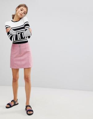 Esprit Мини-юбка А-силуэта из искусственной замши. Цвет: розовый