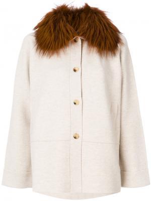 Меховое пальто-кейп Cividini. Цвет: телесный