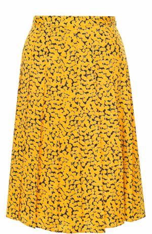 Шелковая юбка-миди с принтом MICHAEL Kors. Цвет: желтый