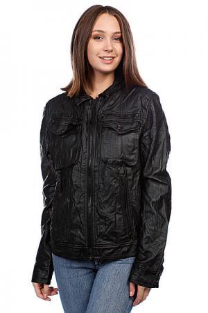 Куртка кожаная женская  Pocket Pu Black Converse. Цвет: черный
