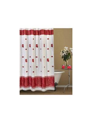 Штора для ванной комнаты 178х180см. Афина бордовая NIKLEN. Цвет: белый, бордовый