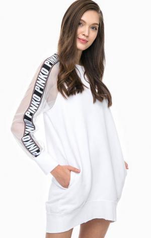 Белое трикотажное платье в спортивном стиле Pinko. Цвет: белый