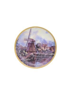 Тарелка декоративная Мельница Elan Gallery. Цвет: голубой, коричневый