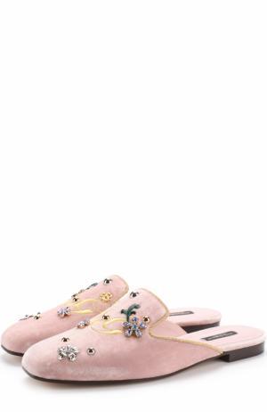 Бархатные сабо с вышивкой и кристаллами Dolce & Gabbana. Цвет: светло-розовый