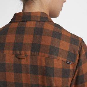 Женская фланелевая рубашка с длинным рукавом Hurley Wilson Nike. Цвет: коричневый
