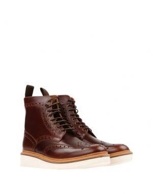 Полусапоги и высокие ботинки GRENSON. Цвет: темно-коричневый