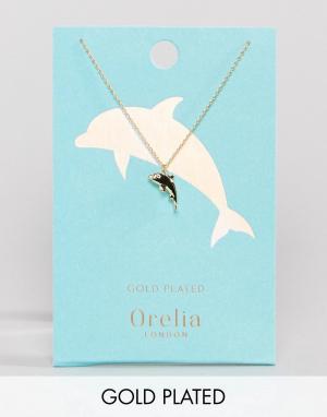 Orelia Позолоченное ожерелье с подвеской в виде дельфина. Цвет: золотой