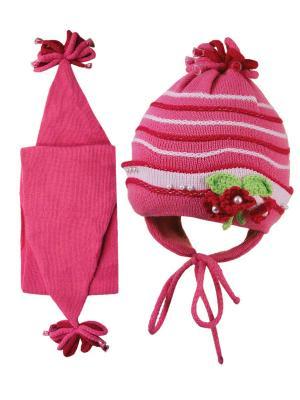 Шапка и шарф Grans. Цвет: розовый