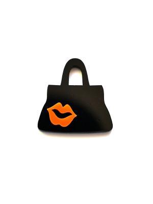 Сумочка с оранжевыми губками Сплетница. Цвет: черный, оранжевый